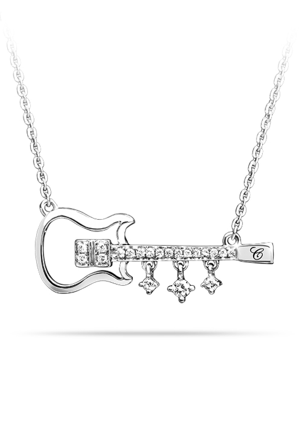 18K White Gold Guitar Necklace with Dangling Diamonds