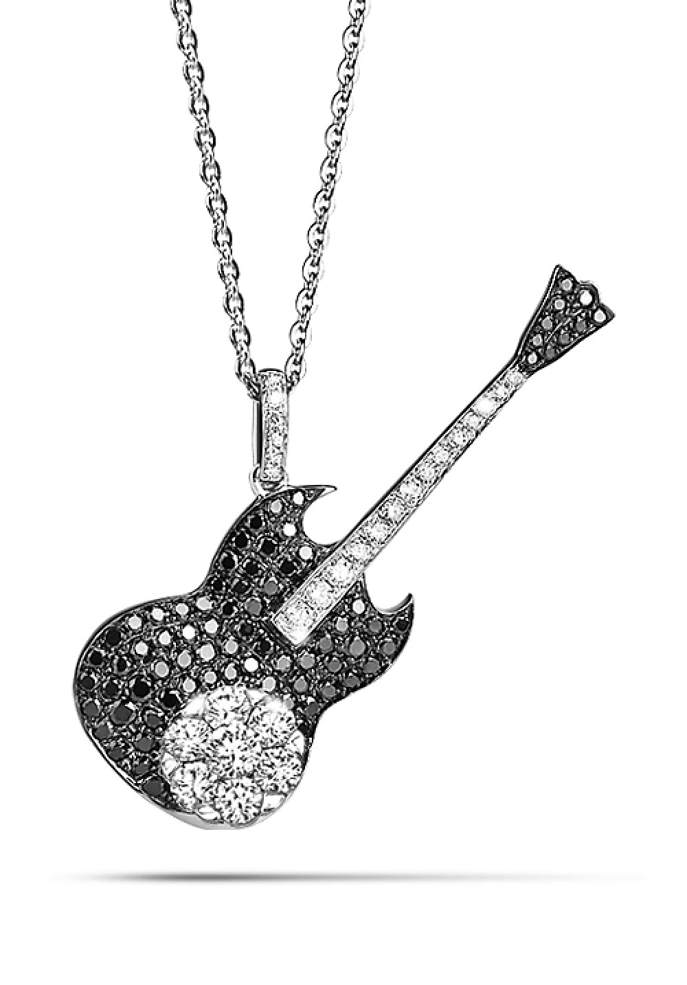 18K Mysterious Black Diamond Guitar Pendant