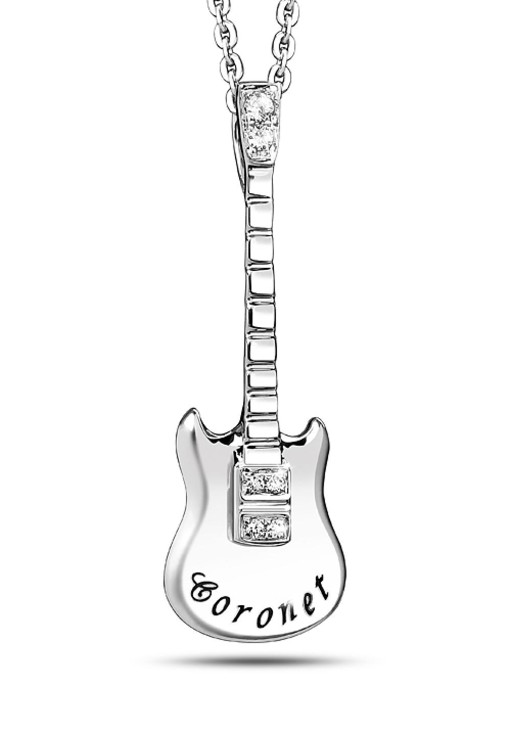 Buy online fashion jewelry accessories coronet store 18k white gold mini diamond guitar pendant aloadofball Choice Image