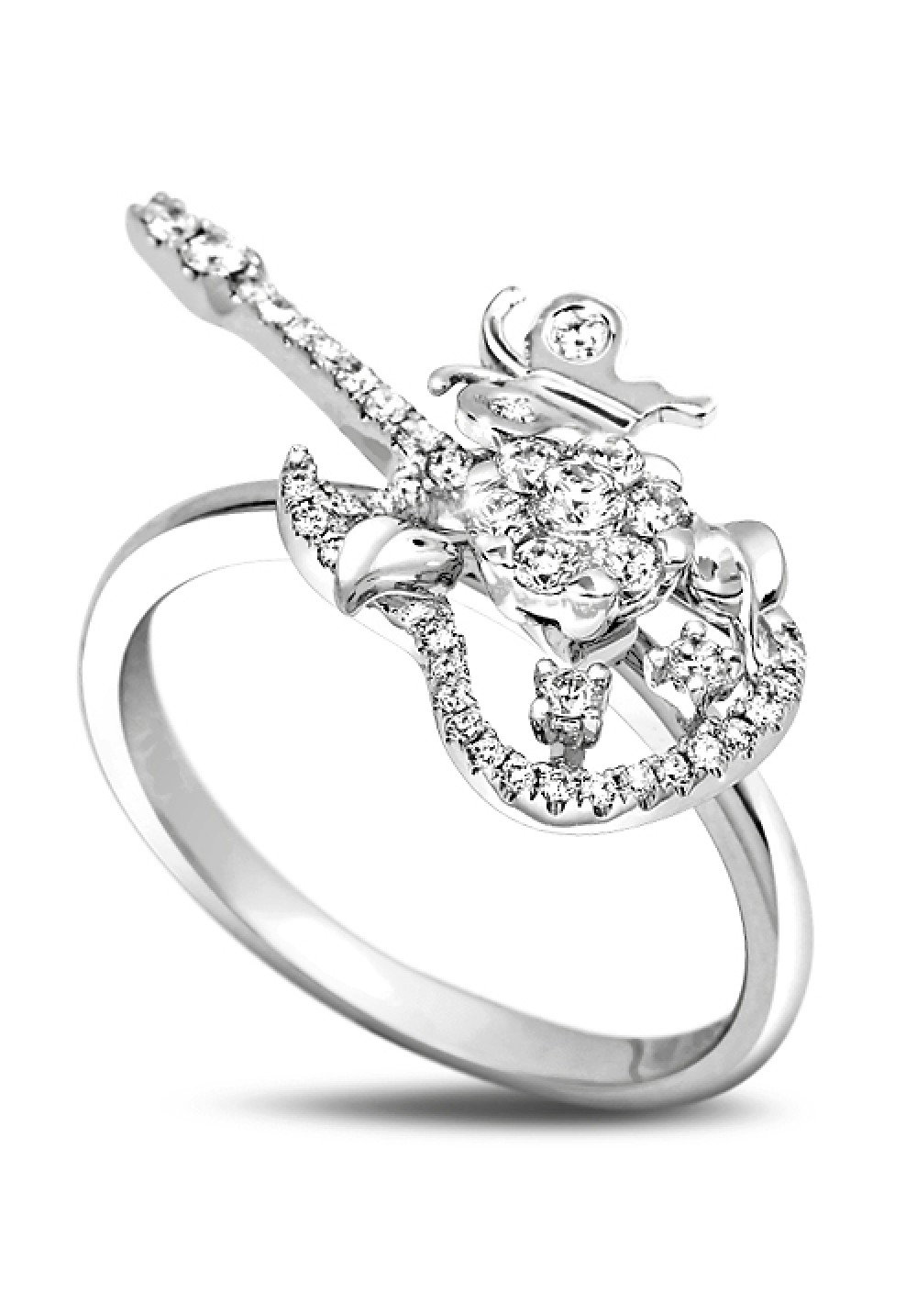 18K Butterfly Rock Guitar Ring