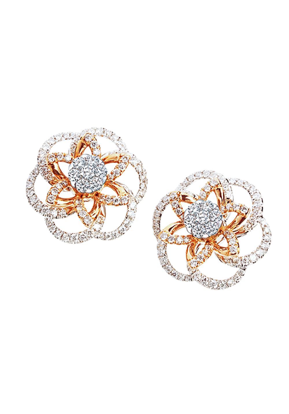 18K Rose Gold Sophisticated Spinning  Floral Coronet Diamond Earrings