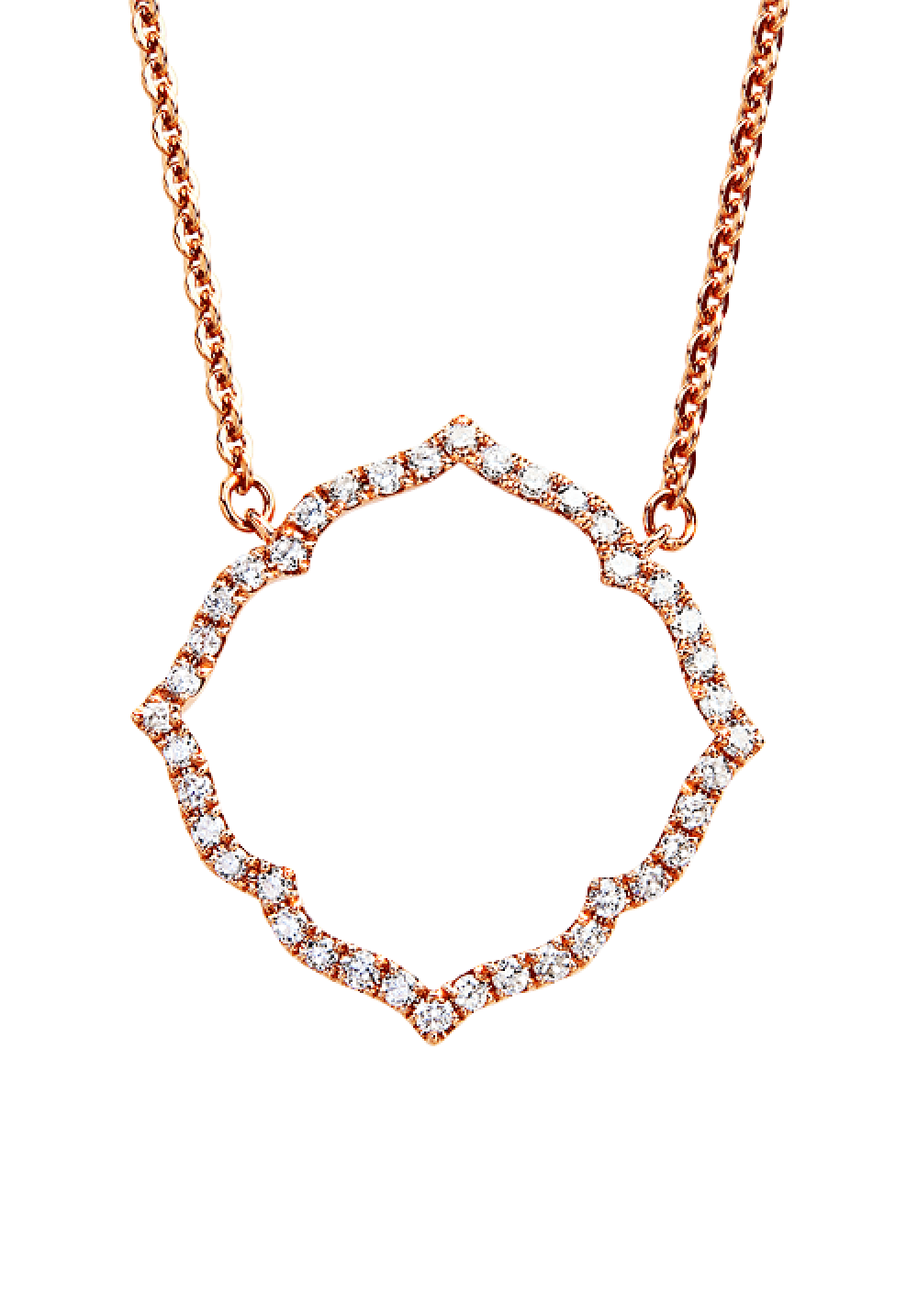 18K Rose Gold Simple Diamond Frame Necklace