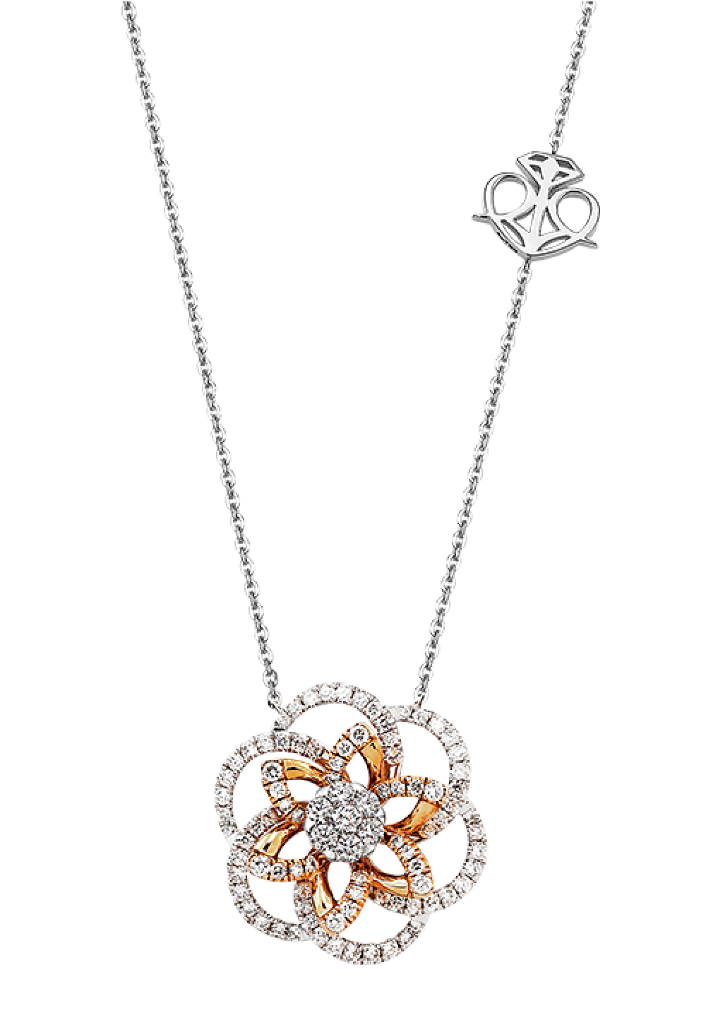 18K Rose Gold Sophisticated Spinning Floral Coronet Diamond Necklace