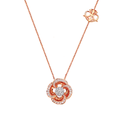 18K Rose Gold Adorable Spinning  Floral Coronet Diamond Necklace