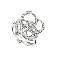18K White Gold Classic Spinning Floral Coronet Diamond Ring