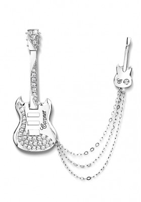 Two Guitar Pin Silver Brooch