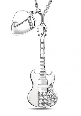 Silver Guitar & Pick Charm Necklaces