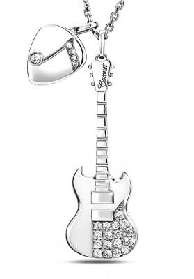 Silver Guitar & Pick Charm Necklaces