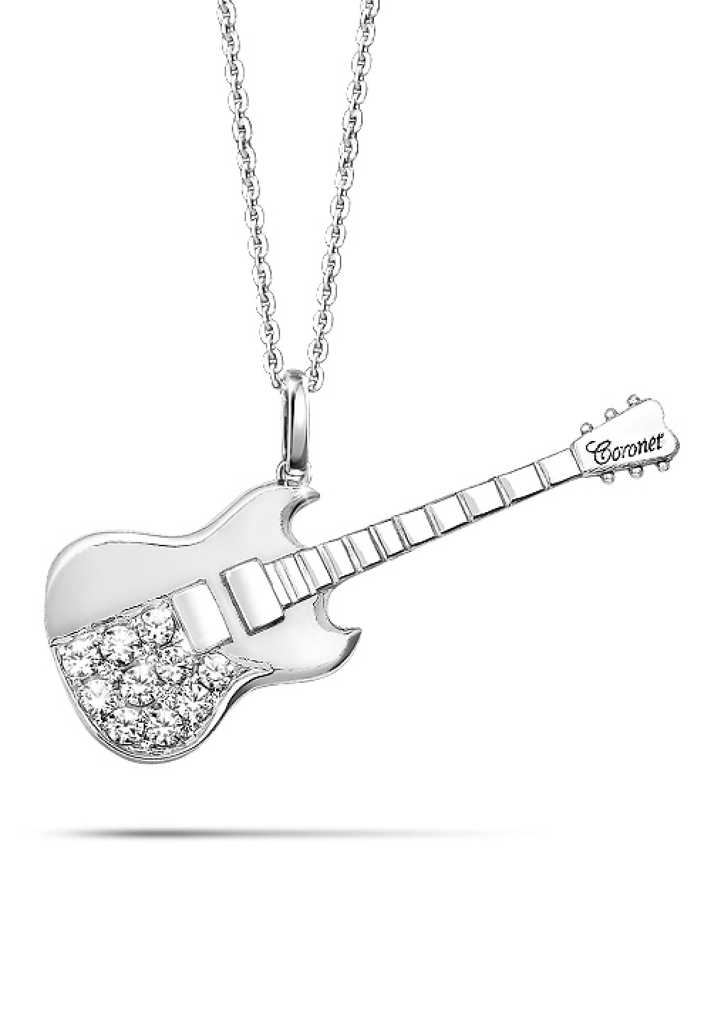 approx package black guitar inch sliver w necklace color itm x steel includes t and pendant stainless l cm silvery size
