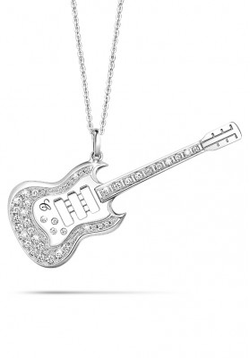 "Silver Guitar Pendant 30"" Necklaces"