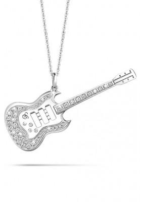 "Silver Guitar Pendant 30"" Necklaces"