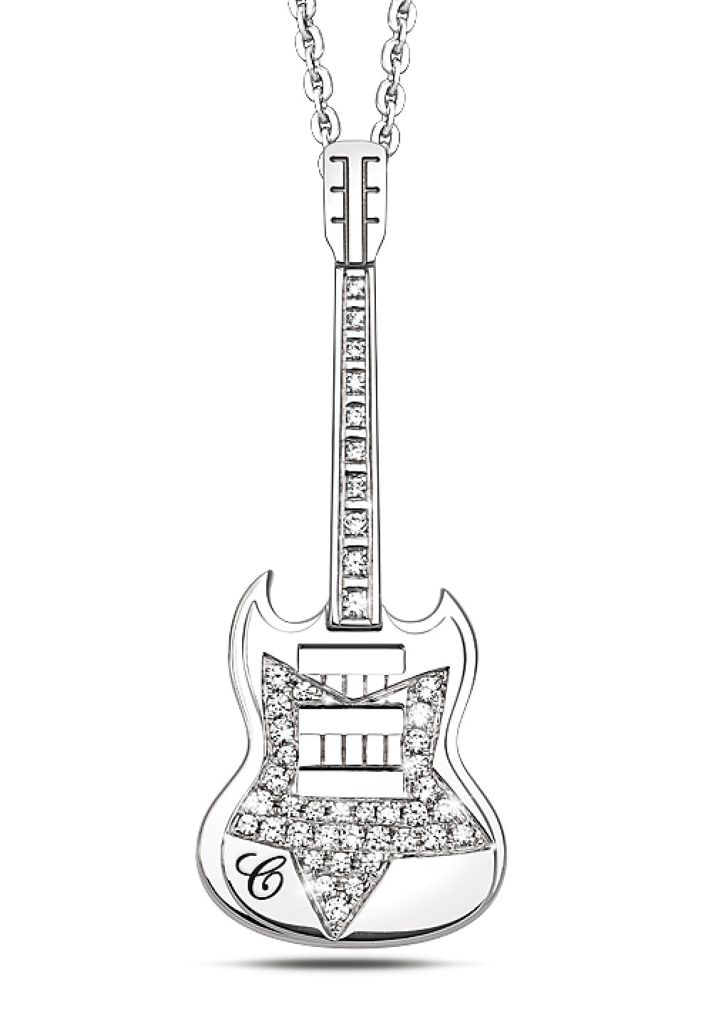 Silver Guitar Pendant Star Necklaces