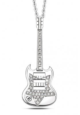 Silver Guitar Pendant Star Necklaces