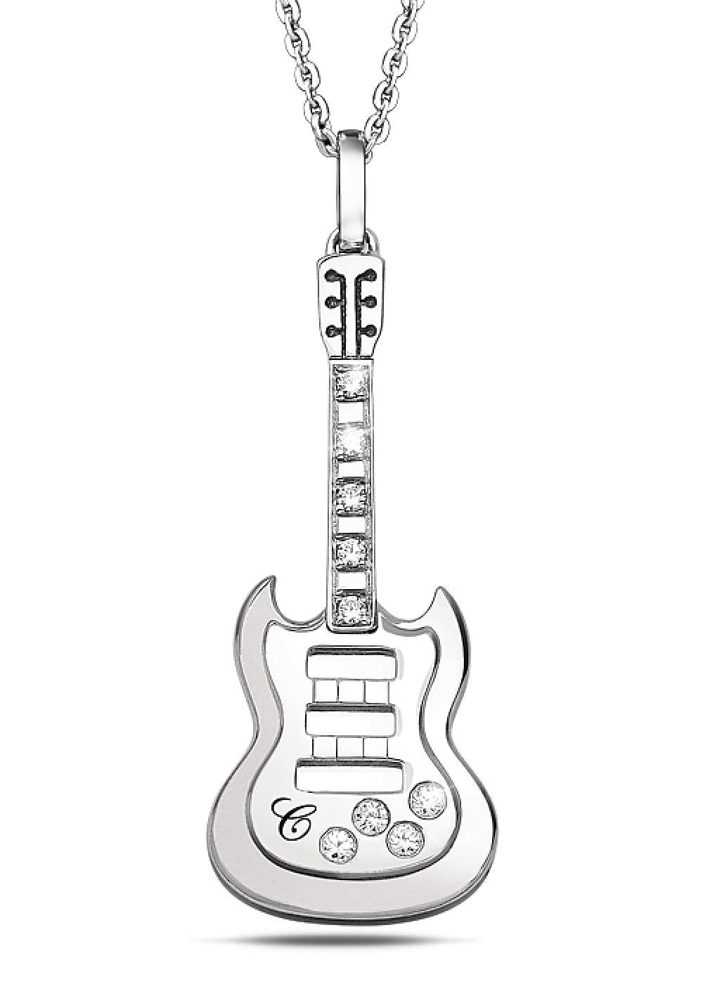 Silver Guitar Pendant With Chain